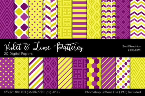 Violet and Lime Digital Papers Graphic Patterns By ZoollGraphics