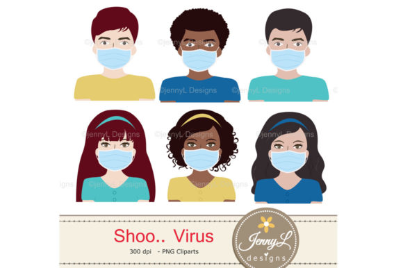 Download Free Virus Digital Papers And Masks Clipart Grafico Por for Cricut Explore, Silhouette and other cutting machines.