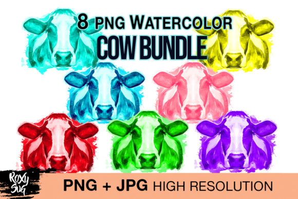 Watercolor Cow Bundle PNG Graphic Crafts By roxysvg26
