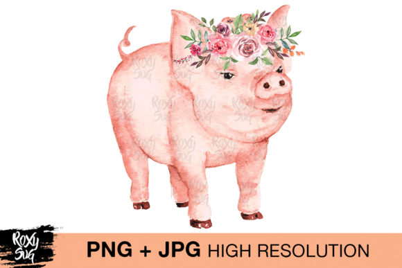 Print on Demand: Watercolor Pig, Pig with Flowers Graphic Crafts By roxysvg26