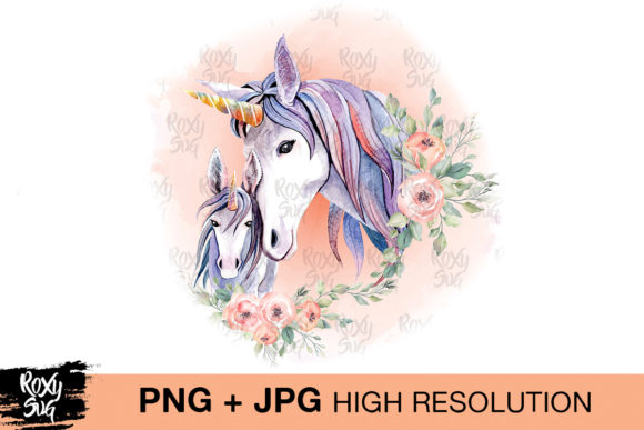 Print on Demand: Watercolor Unicorn Clipart, Unicorn PNG Gráfico Crafts Por roxysvg26