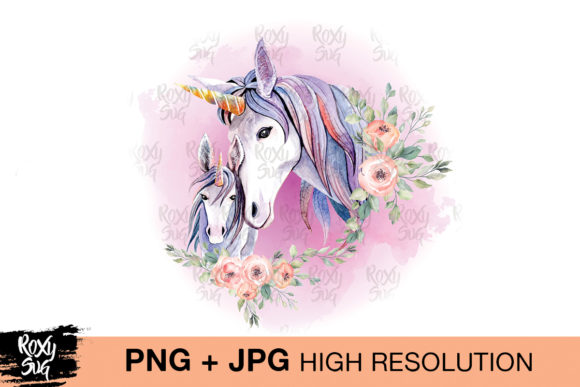 Print on Demand: Watercolor Unicorn Clipart, Unicorn  Graphic Crafts By roxysvg26