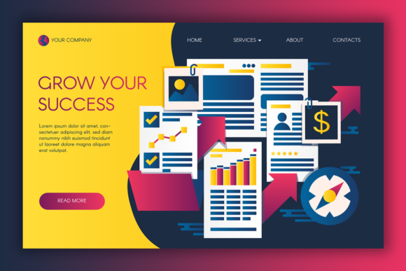 Print on Demand: Web Graphics of Business Success Graphic Landing Page Templates By barsrsind