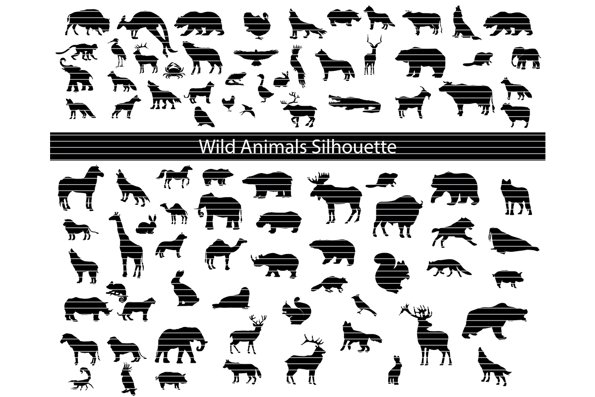 Download Free Wild Animals Silhouette Clip Art Bundle Graphic By Meshaarts for Cricut Explore, Silhouette and other cutting machines.