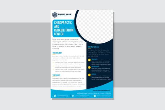 Print on Demand: Ciropractic Vertical Flyer Blue Graphic Print Templates By noory.shopper