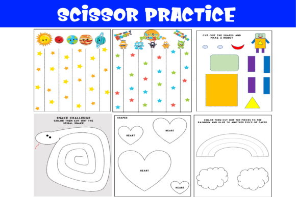 25 Fun Scissor Cutting Practice Sheets Graphic PreK By Ash's Designs