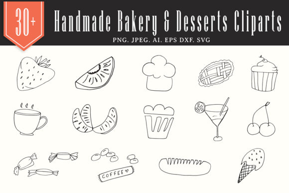 Print on Demand: 30+ Handmade Bakery & Desserts Cliparts Graphic Illustrations By Creative Tacos