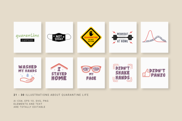 Print on Demand: 30 Pics About Quarantine - Just Stay Home Graphic Illustrations By Cosmic Store - Image 6