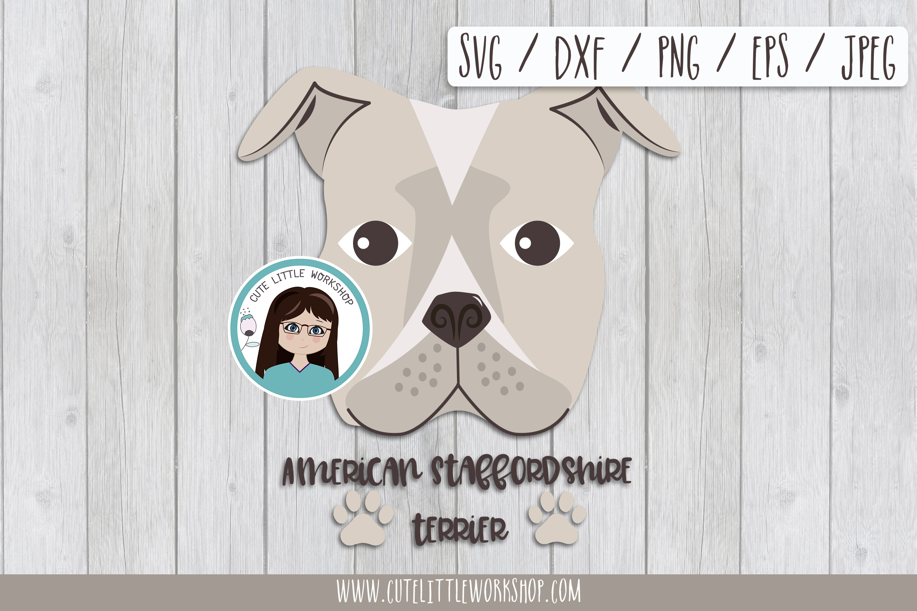 Download Free American Stafford Terrier Dog Graphic By Cutelittleclipart for Cricut Explore, Silhouette and other cutting machines.