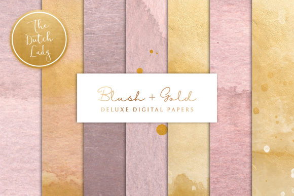 Print on Demand: Blush & Gold Digital Backgrounds Graphic Textures By daphnepopuliers