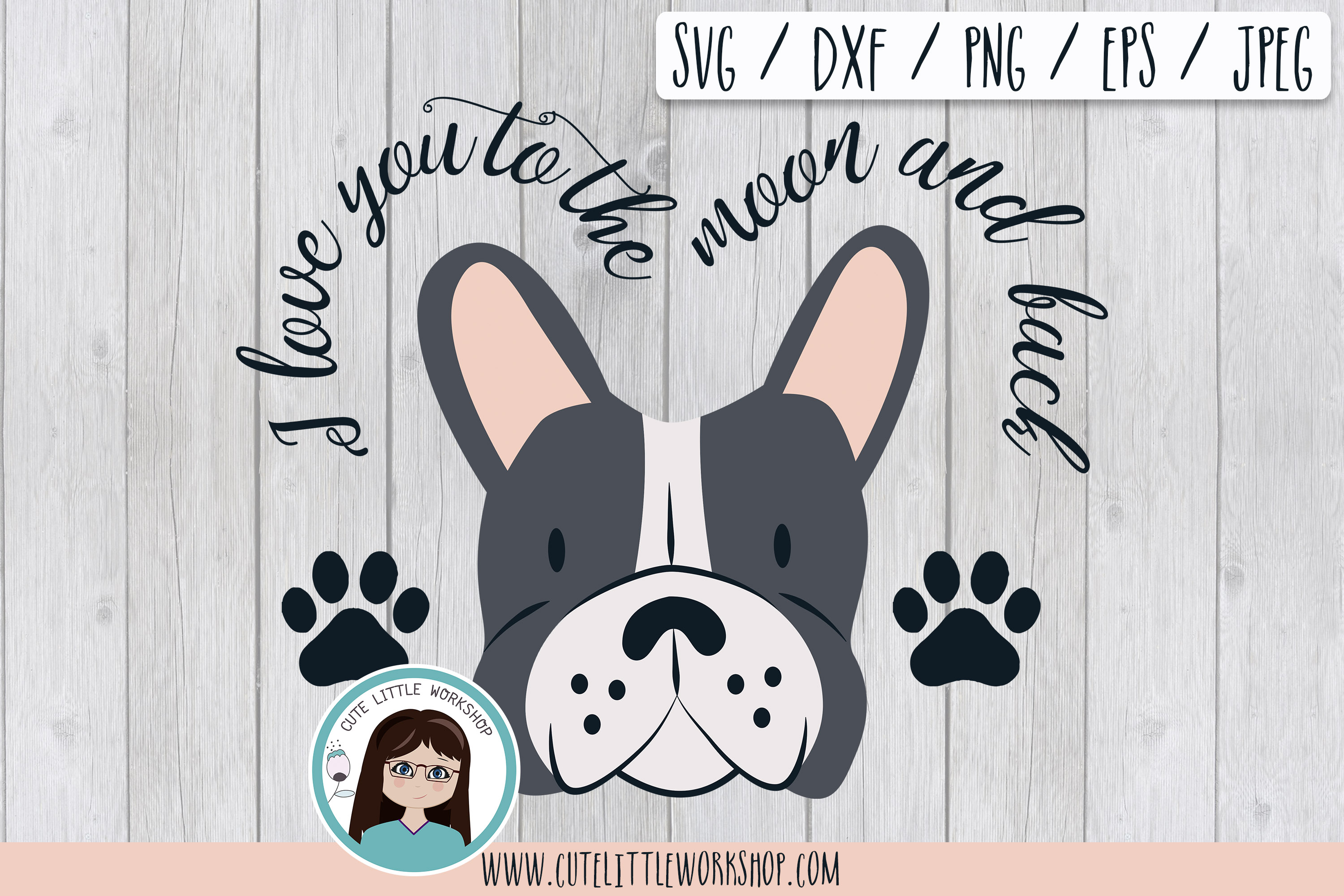 Download Free Boston Terrier Grey Puppy Paw Dog Svg Graphic By Cutelittleclipart Creative Fabrica SVG Cut Files