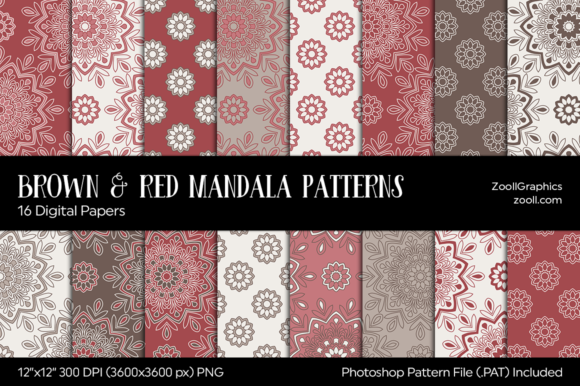 Download Free Brown And Red Mandala Digital Papers Graphic By Zoollgraphics for Cricut Explore, Silhouette and other cutting machines.