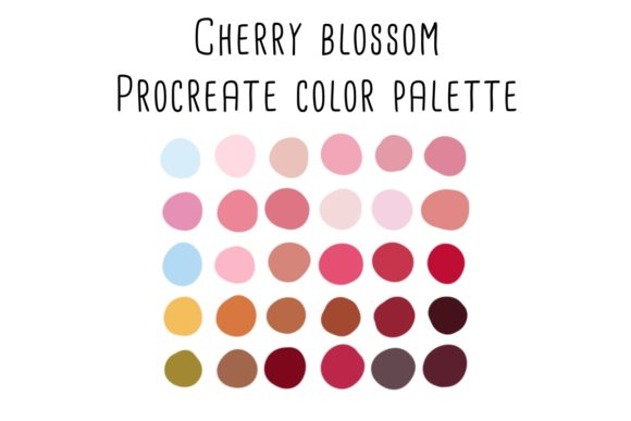 Print on Demand: Cherry Blossom Procreate Color Palette Graphic Add-ons By RoughDraftDesign