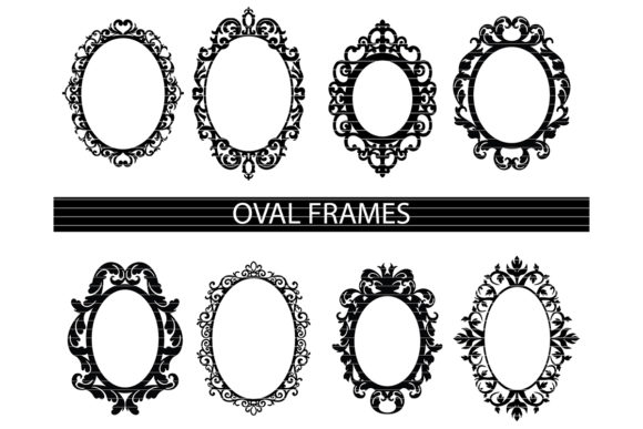 Download Free Decorative Oval Frames Bundle Graphic By Meshaarts Creative for Cricut Explore, Silhouette and other cutting machines.