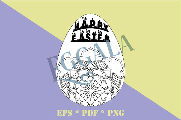 Print on Demand: Easter Eggala Egg Mandala EPS PNG PDF Graphic Coloring Pages & Books By GraphicsFarm - Image 1