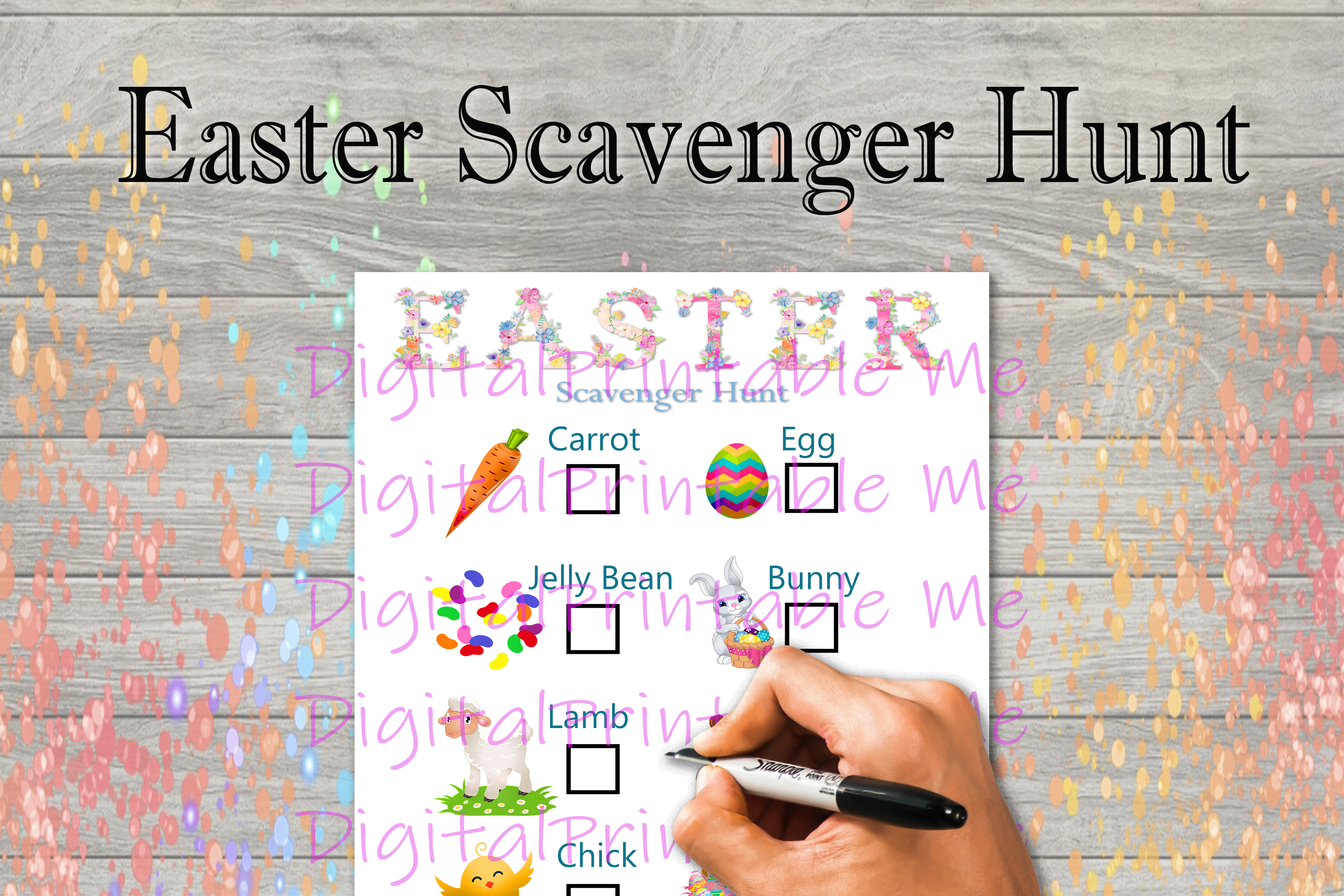 Download Free Easter Scavenger Hunt Kids Game Activity Graphic By for Cricut Explore, Silhouette and other cutting machines.