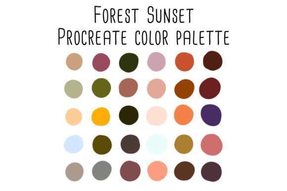 Print on Demand: Forest Sunset Procreate Color Palette Graphic Add-ons By RoughDraftDesign