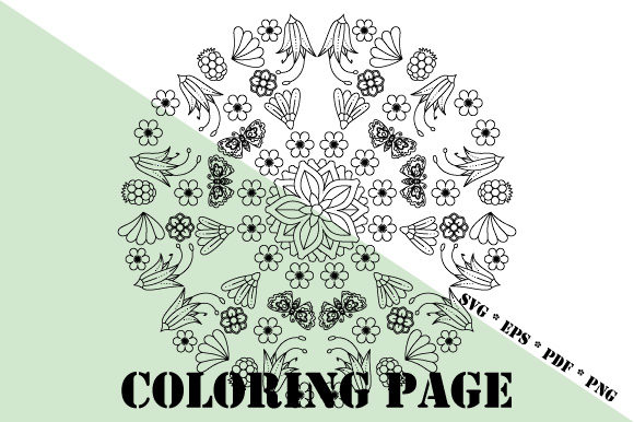 Garden Coloring Page Svg Eps Pdf Png Graphic By Graphicsfarm