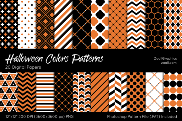 Download Free Halloween Colors Digital Papers Graphic By Zoollgraphics for Cricut Explore, Silhouette and other cutting machines.
