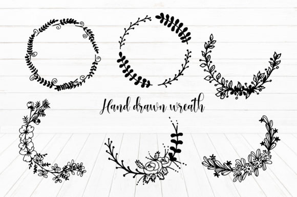 Download Free Hand Draw Flower Wreath Elements Graphic By Suda Digital Art for Cricut Explore, Silhouette and other cutting machines.