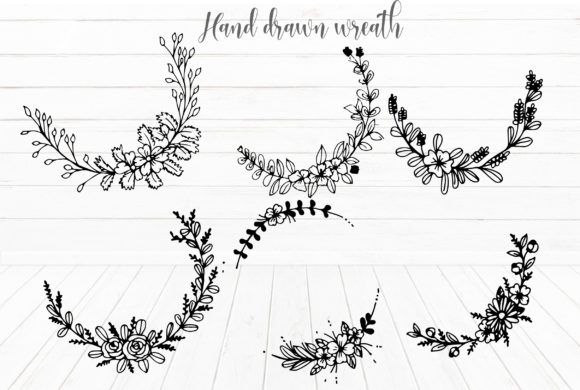 Download Free Hand Draw Cute Flower Wreath Elements Graphic By Suda Digital for Cricut Explore, Silhouette and other cutting machines.