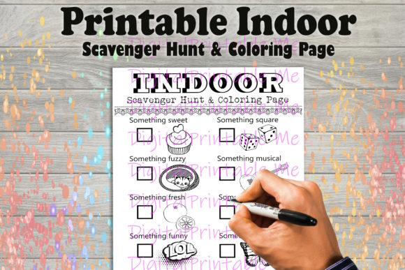 Print on Demand: Indoor Scavenger Hunt Game Coloring Page Graphic Coloring Pages & Books Kids By DigitalPrintableMe