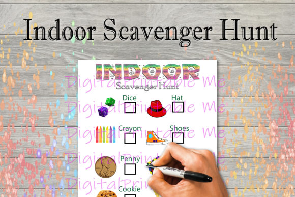Download Free Indoor Scavenger Hunt Kids Game Activity Grafico Por for Cricut Explore, Silhouette and other cutting machines.