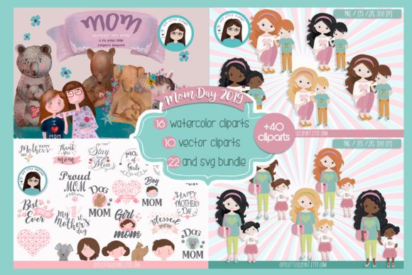Download Free Mother S Day Bundle Graphic By Cutelittleclipart Creative Fabrica for Cricut Explore, Silhouette and other cutting machines.