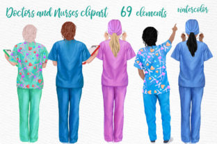 Print on Demand: Nurses Clipart, Women in Scrubs Graphic Illustrations By LeCoqDesign