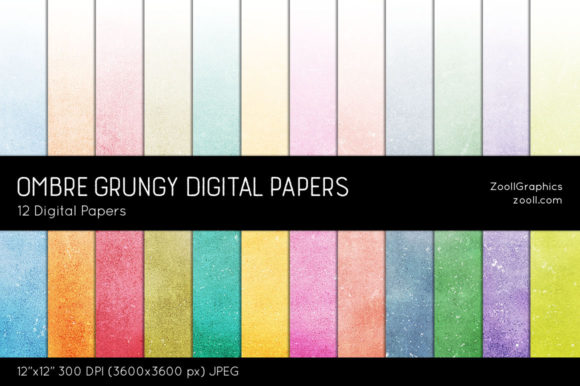 Ombre Grungy Texture Digital Papers Graphic Patterns By ZoollGraphics