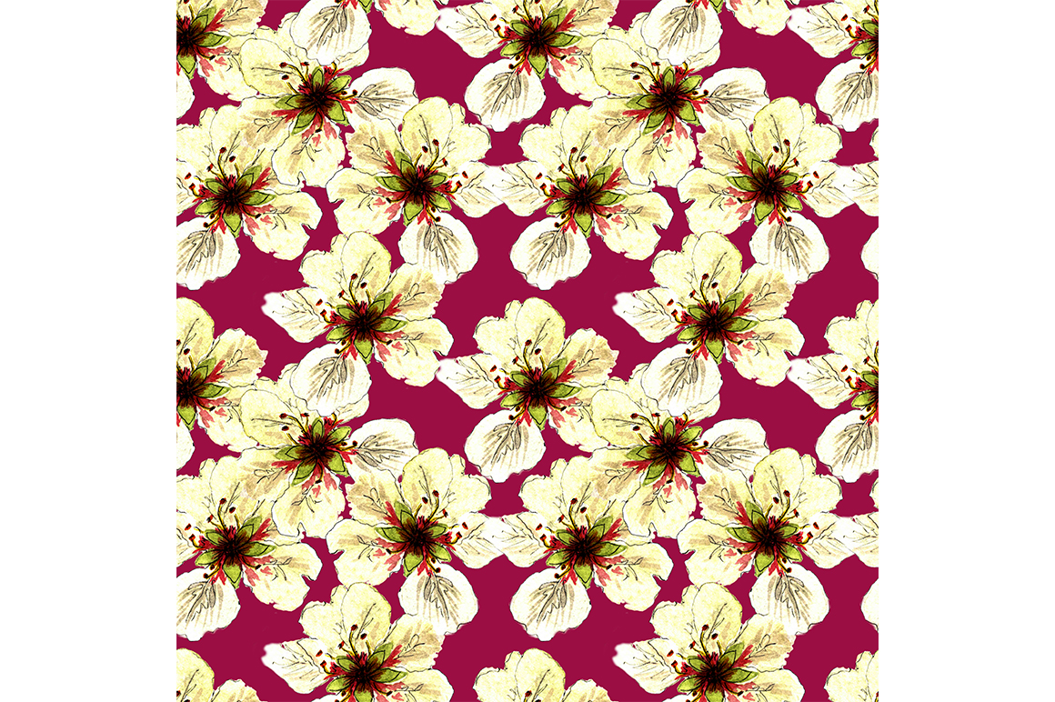 Download Free Pattern Apple Blossom Graphic By Kakva Creative Fabrica for Cricut Explore, Silhouette and other cutting machines.