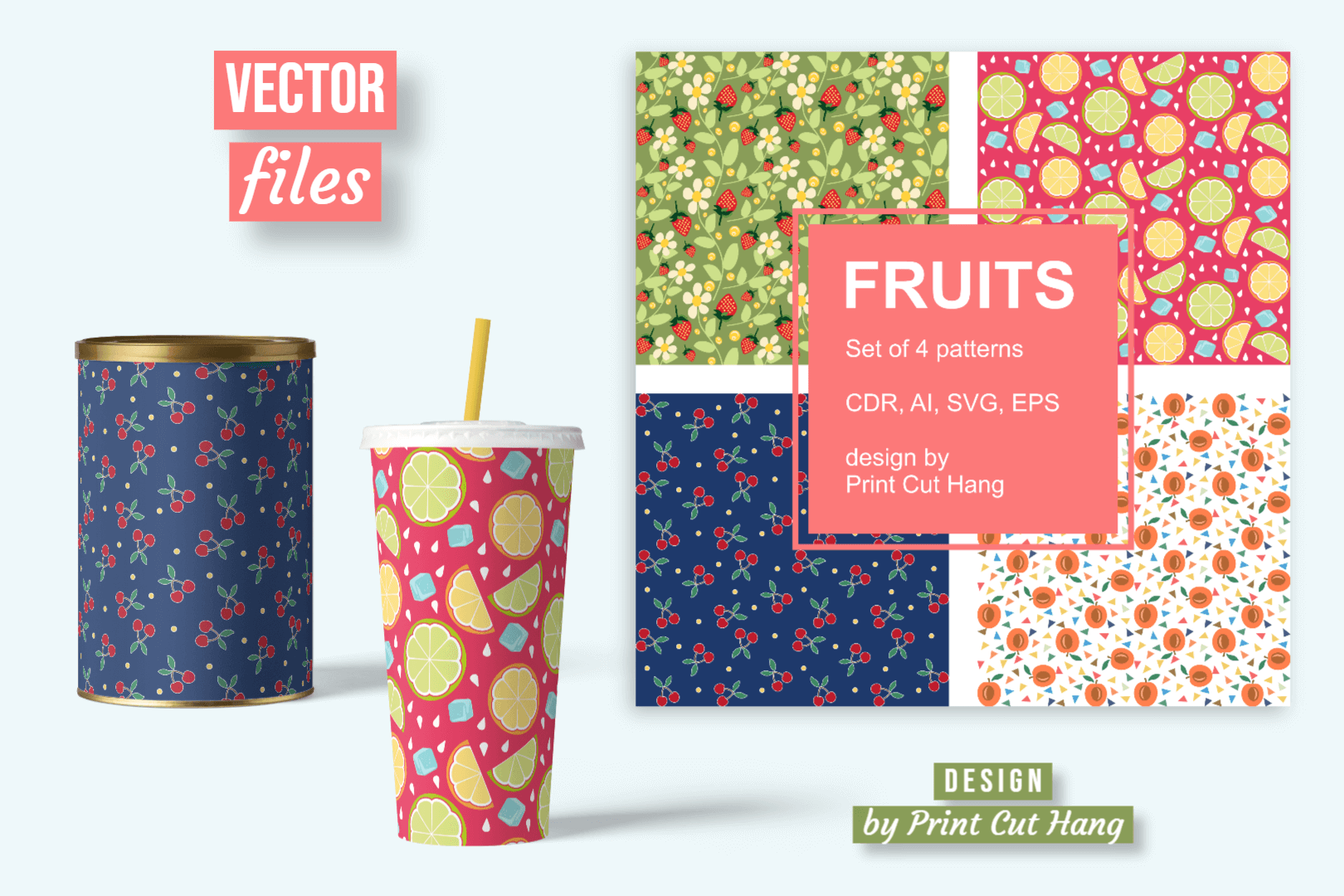 Seamless Patterns With Fruits Svg Ai Cdr Graphic By Print Cut
