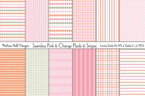 Download Free Seamless Pink And Orange Plaids Stripe Graphic By Melissa Held for Cricut Explore, Silhouette and other cutting machines.