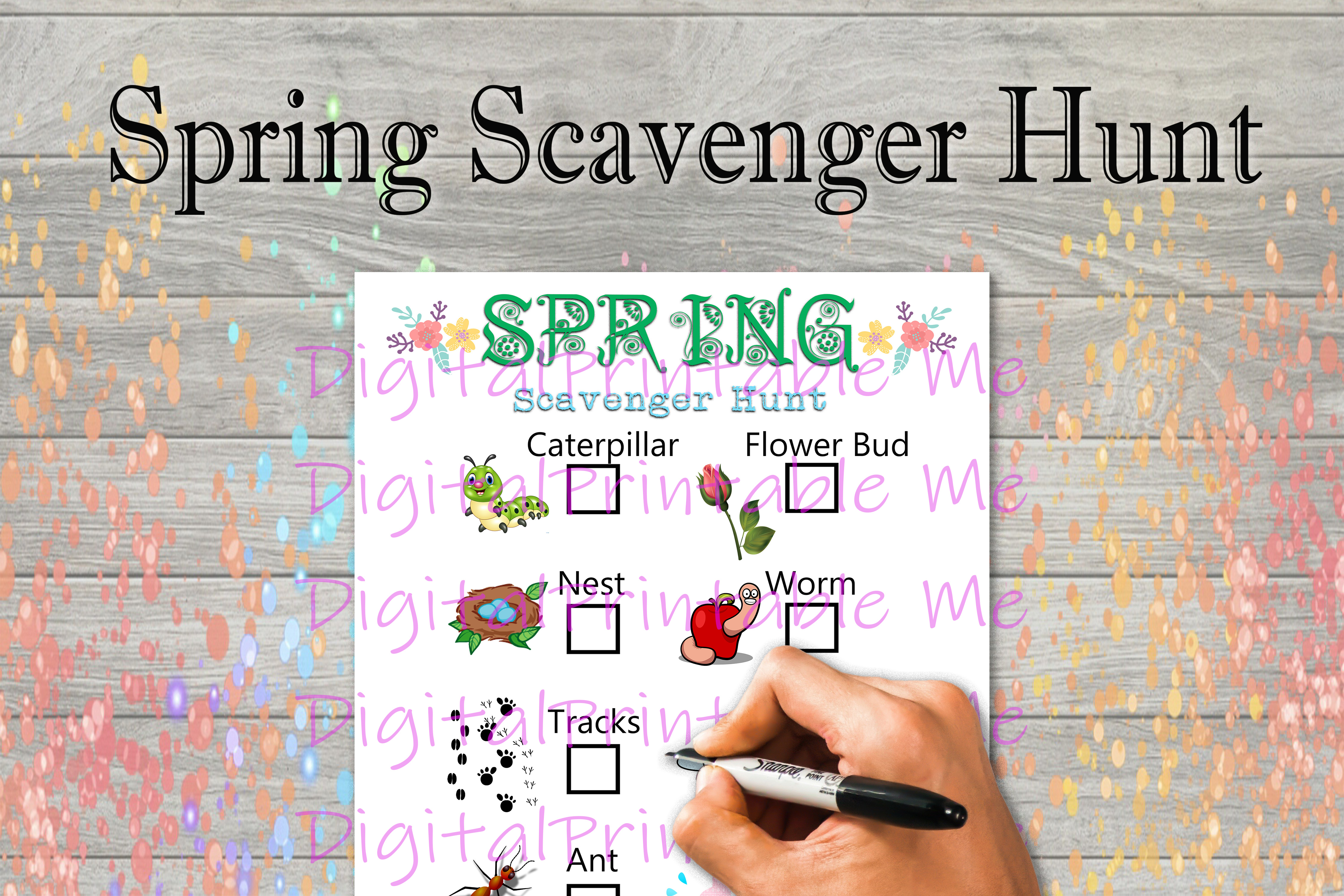 Download Free Spring Scavenger Hunt Kids Game Nature Graphic By for Cricut Explore, Silhouette and other cutting machines.