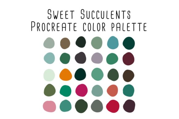 Print on Demand: Sweet Succulents Procreate Color Palette Graphic Add-ons By RoughDraftDesign