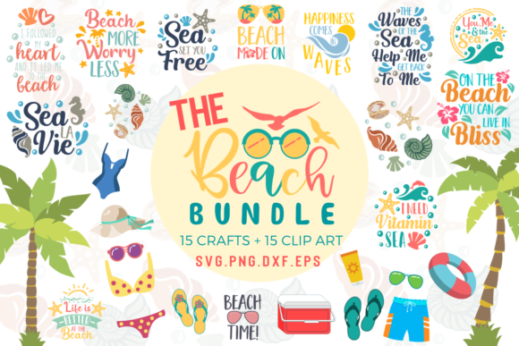 Download Free The Beach Bundle Graphic By Graphipedia Creative Fabrica for Cricut Explore, Silhouette and other cutting machines.
