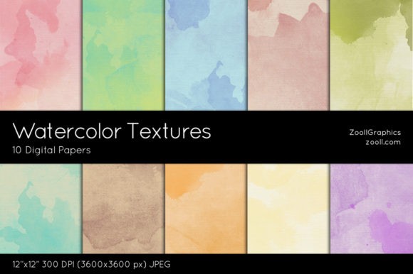 Watercolor Textures Digital Papers Graphic Textures By ZoollGraphics