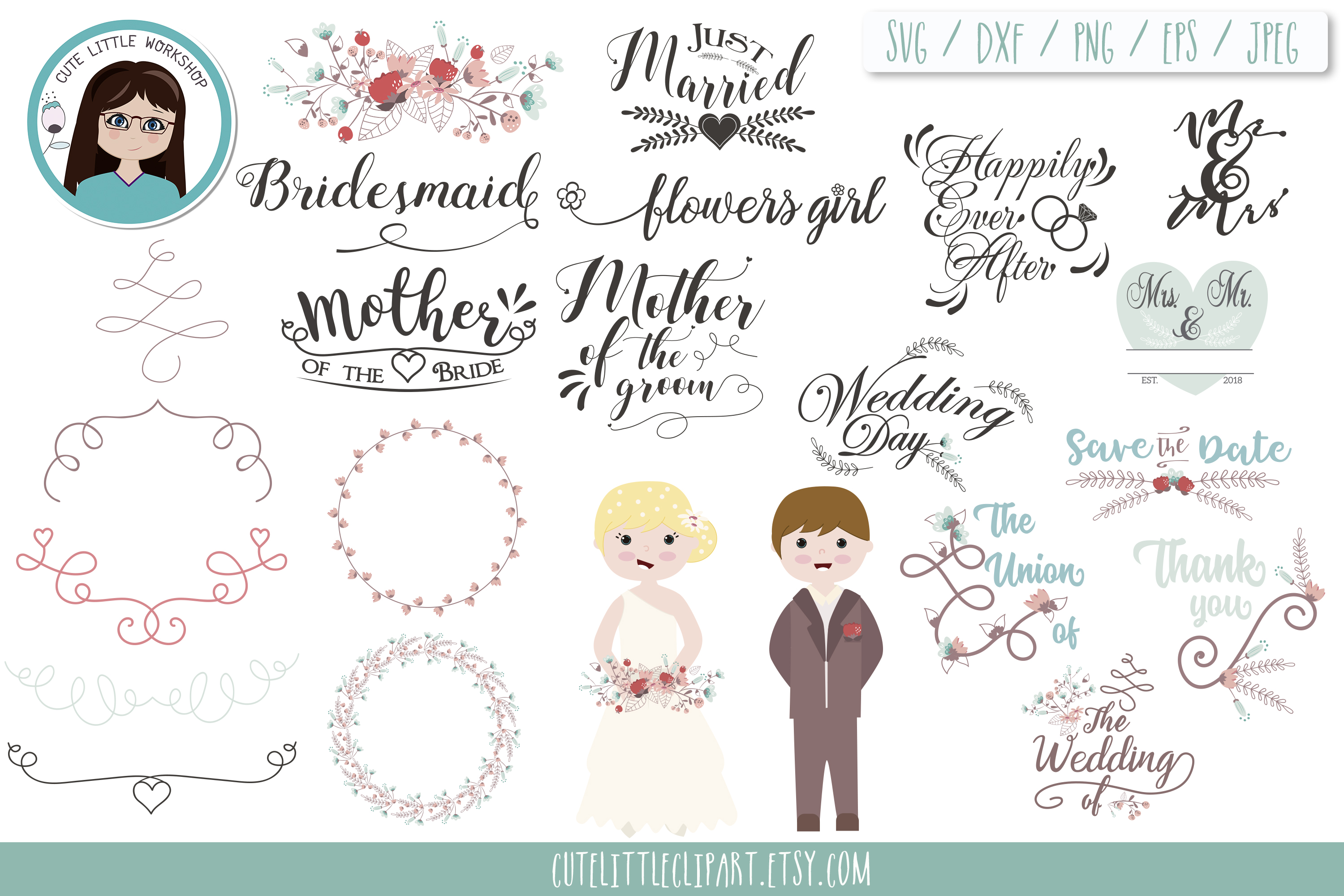 Download Free Wedding Svg Bundle Svg Dxf Eps Graphic By Cutelittleclipart for Cricut Explore, Silhouette and other cutting machines.