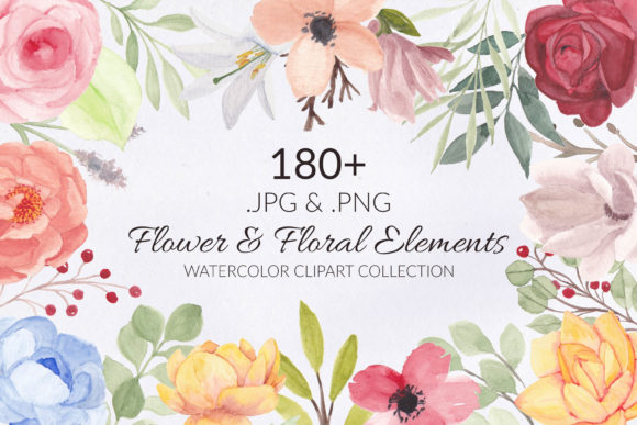 Print on Demand: 188 Flower and Floral Watercolor Set Gráfico Ilustraciones Por elsabenaa