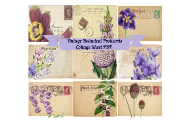 Print on Demand: 9 Vintage ATC Postcards Ephemera Tags Graphic Illustrations By Scrapbook Attic Studio