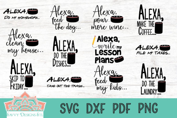 Print on Demand: Alexa Quotes Bundle Graphic Crafts By savvydesignsstl