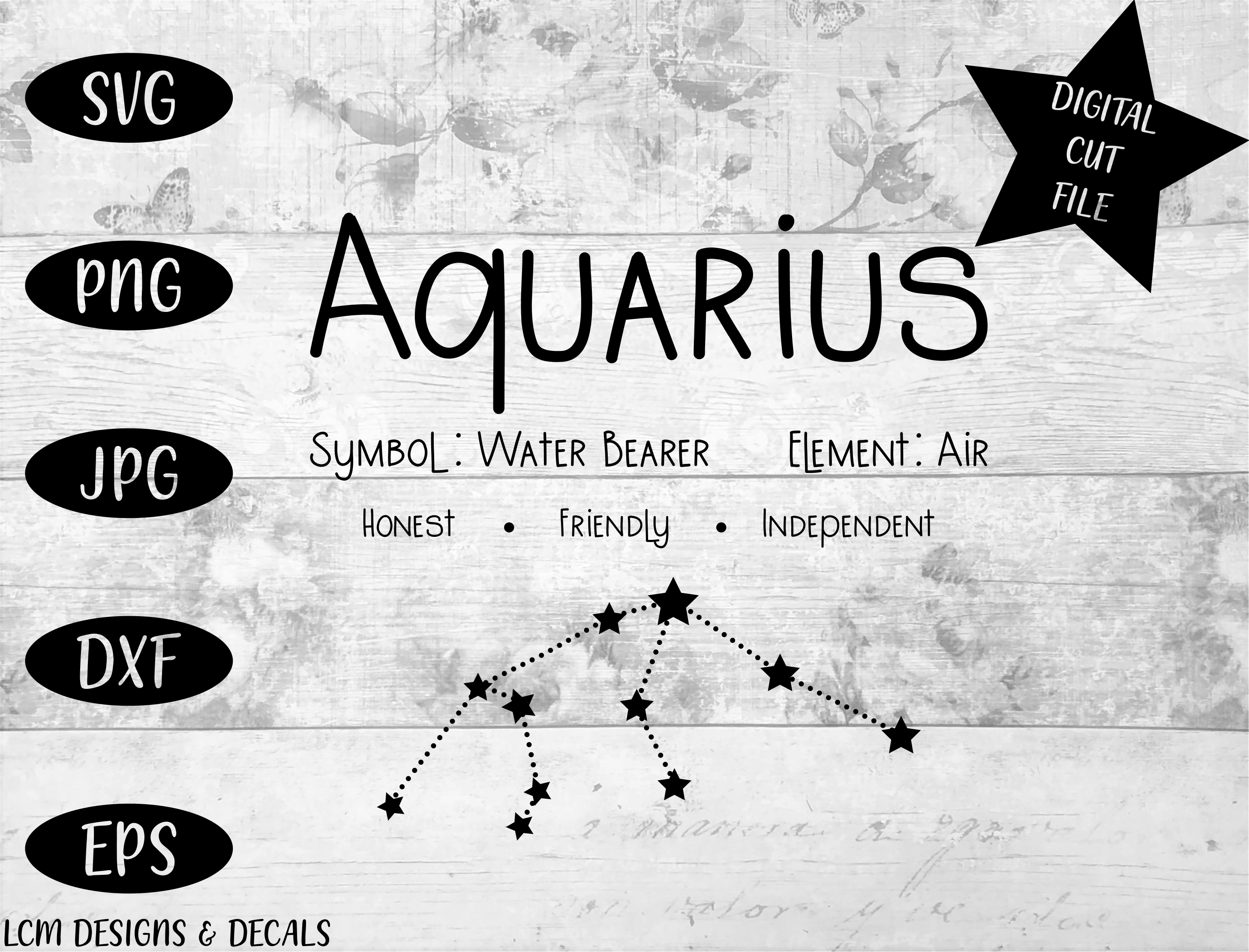 Download Free Aquarius Zodiac Star Sign Astrology Graphic By Lcm Designs for Cricut Explore, Silhouette and other cutting machines.