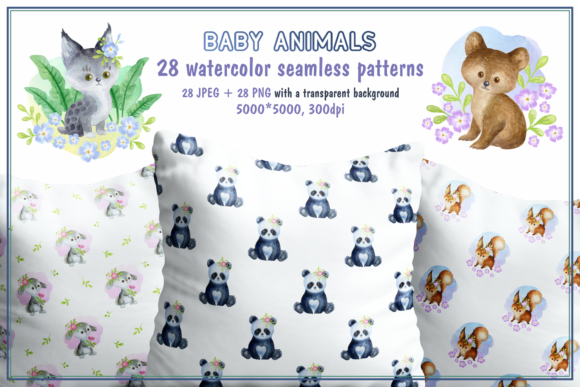 Print on Demand: Baby Animals. Watercolor Seamless Patter Graphic Patterns By Olga Belova