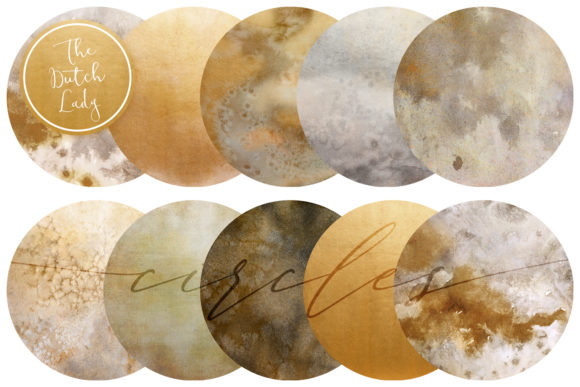 Print on Demand: Beige & Gold Circle Clipart Set Graphic Crafts By daphnepopuliers
