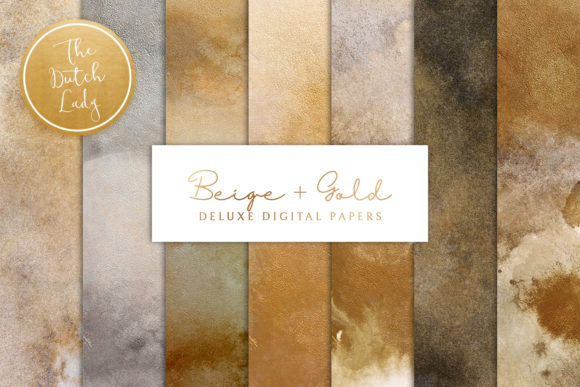 Print on Demand: Beige & Gold Digital Backgrounds Graphic Backgrounds By daphnepopuliers