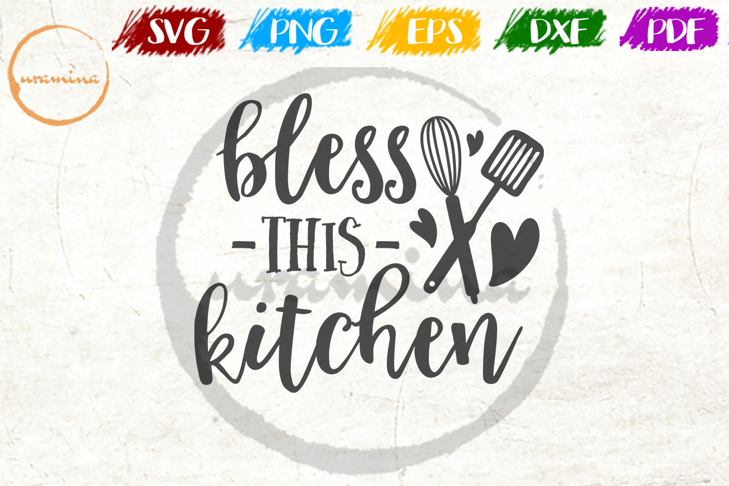 Download Free Bless This Kitchen Graphic By Uramina Creative Fabrica for Cricut Explore, Silhouette and other cutting machines.