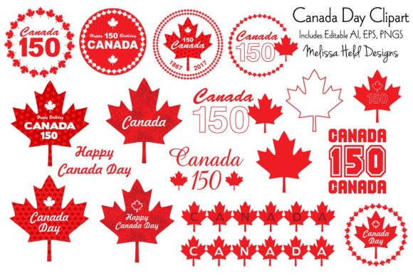 Canada Day Clipart Vector Graphics Graphic Illustrations By Melissa Held Designs