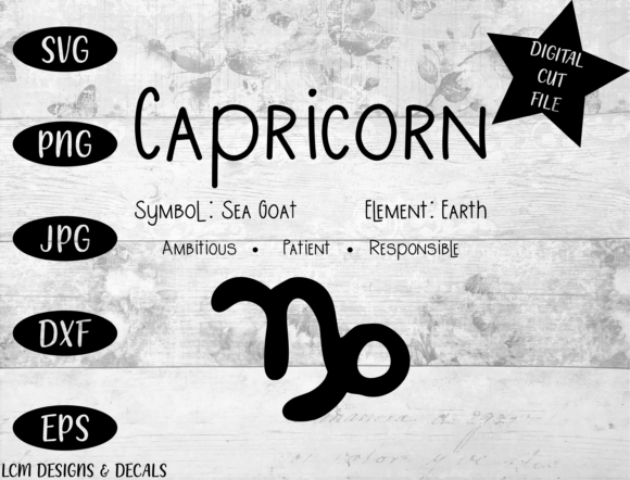 Download Free Capricorn Zodiac Star Sign Astrology Graphic By Lcm Designs for Cricut Explore, Silhouette and other cutting machines.