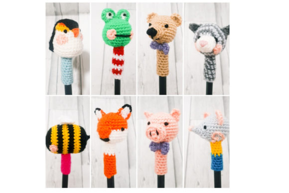 Cat Pen Topper Graphic Crochet Patterns By Tangle Tree Creative