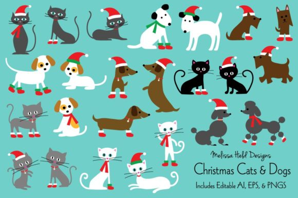 Christmas Cat & Dog  Illustrations Graphic Illustrations By Melissa Held Designs